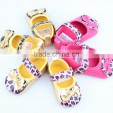 2014 fashion new arrival baby girls leopard leather shoe brand new baby girls leather shoes