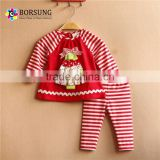 Latest frock suits for baby girl kids christmas tree pattern raglan sleeve stripe pajamas for winter clothing
