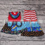 Latest Design Baby Girls Sleeveless Smocked Dress Ruffle Pants Clothing Set Kids Back to School Boutique Outfits Numbers Print