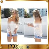 Lace blouse for fat boat neck t-shirts top fashion blouse 2015