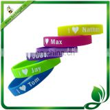 debossed and colored logo silicone wristband