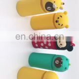 Korean cartoon silicone pencil case and stationery pen holder with retractable function and cylindrical shape
