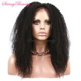 100% Natural Human Hair Wig Handmade Frontal Swiss Lace Kinky Curly