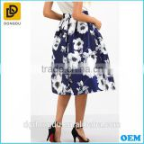 High Fashion Satin Blue Print Umbrella Skirt For Ladies Ballet Tutu High Waist Skirts