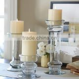 high clear long-stemmed Glass Candle Holders table centerpiece Rome candlestick holder