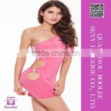 Top Selling newest sexy clubwear party dress fifth sleeve dress sexy one-handed pink dress