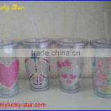 BPA free Acrylic double wall 16 oz tumblers with straw and LED light FDA standard PVC or rhinestone decoration mugs