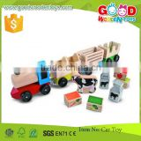 CE Conforms Durable Colorful Engine Three Interchangeable Cars Wooden Farm Train                                                                         Quality Choice