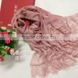 fashion female sexy polyester lace plain colors pashmina scarf shawl,imitated cashmere scarves and shawls,lace hijab                                                                                                         Supplier's Choice