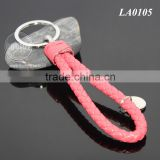 Manual Hand Woven Rope Silver Zinc Alloy Metal Round Tag Braided Leather Cord Pink Leather Straps Braid Keyring