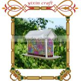 Unique Decorative Metal Hanging Glass Mosaic Bird Cage Royal Wing Bird Feeder