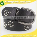 Women's Fashion flowermetal studded jeans belt with shiny rhinestone accessories in Chinese factory
