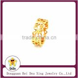Lace hollow flower design with 18K yellow gold plated bangle style stainless steel 316 fashion Ring