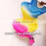Colorful Gradient blue yellow rose Belly Dance Silk Fans veil DJ1022 belly dance accessories
