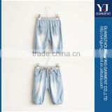 Fitted long beautiful blue girl jean skirts with lace for kids girls
