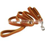 Brown Genuine Leather Classic Dog Leash And Collars