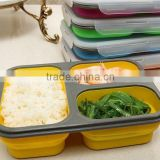 Food-grade FDA/LFGB approved 3 compartment Collapsible bento Silicone rubber Folding Lunch Box with lock & Fork