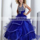 New arrival 2013 halter beaded royal ball gown skirt custom-made ruffled pageant flower girl dresses CWFaf4454