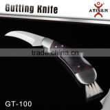 High Quality Folding Mushrooms Knife Wooden Handle With Brush Outdoor Survival Hand Tools GT-100