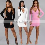 New Womens Sexy Clubwear Bodycon Mini Dress Evening Party Long Sleeve Prom Dress