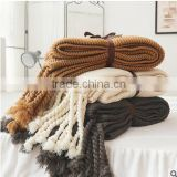2017 best selling American Country style knitted cotton blanket