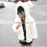 Hooded Winter Fur Jacket Girls European Style Fur Coat Autumn Kids Plush Jacket Thick Padded White Black Leopard Rabbit Ear