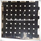 Nero Marquina Black 1x2 Basketweave Mosaic Tile with White Dots Polished