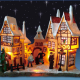 X\'mas house with 10 light set Play Snowman Polyresin Christmas House Decoration