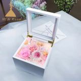 Preserved Flowers Music Box Flower Gift with Lighting for valentine christmas wedding