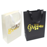 Black Wedding Jewelry Branded Matte Laminated Paper Bags With Grosgrain Handle Gold Foil Logo Urbrand