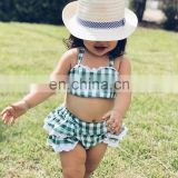 Wholesale Summer girls' backless suit 2pcs green plaid navel strap top + Lace PP shorts outfit Bikini set