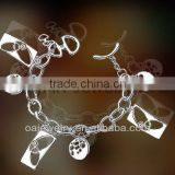 fashion jewelry new brand brass or sterling silver charm bracelet for lady paypal on line