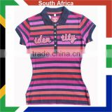 Women's Yarn dyed polo shirt/Womens engineered stripes polo shirt