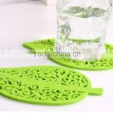 beautiful silicone cup pad / leaves shape cup mat / environmentally friendly table protector