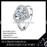 Prong setting heart shape silver diamond wedding ring fashion ring with big stone