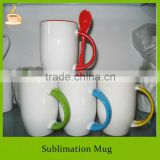 White coated and color glazed inside with placing spoon colorful handle sublimation ceramic mug, T/T