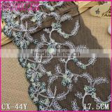 MSDS Factory fashion cheap black net 17.5cm nylon embroidery Lace fabric for kids clothing
