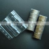 transparent plastic sleeve packaging for coin storage, coin wrapper