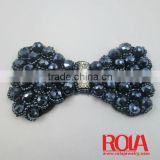 Beaded flowers lace trim with pearl applique for apparel collar