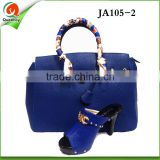 JA0105-02 Attractive new design leather African high-heel suede shoes and bag with stones
