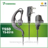 Ear hook type stereo earphone headset with PTT for two way radio