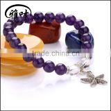 8mm Natural Gems Stones Beaded Bracelets with Starfish