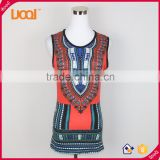 China supplier in bulk dashiki vest top, ladies african ethnic tank top, latest women dashiki top