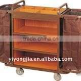 Multi-purpose Hotel Housekeeping Maid Cart Trolley/stee; and wood housekeeping carts/Housekeeping cleaning trolley service carts