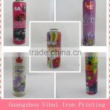 Different diameter four color printing necked-in aerosol metal tin can for packaging industrial