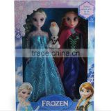 DIHAO 2016 Popular Hot Sale Movie Character Toys Plastic Movie Figure Power Sister Frozen Toys Elsa and Anna princess dress