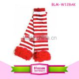Red stripes fashion cotton baby leg warmers with ruffle