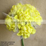 Wedding decorations special heads shape yellow Artificial foam Flowers rose 6 heads Wedding bridesmaids Bouquet