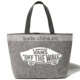 Grey felt letters minimalist high-capacity material shopping bag ladies laptop bags