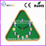 Plastic colorful triangle creative wall billiard ball clock for gift